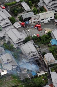大阪の地震による火事の様子