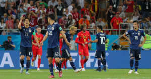 ベルギーと試合している写真